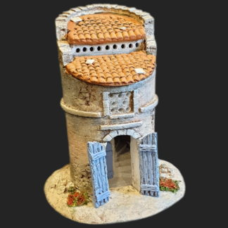 Maison de village pigeonnier bleu – Atelier de Fanny – Santon – Santons – Décors de crèche – Aubagne – Provence – Crèche de Provence – Santon de provence.jpg
